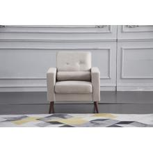 See Details - 8137 BEIGE Linen Stationary Tufted Chair