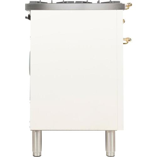 Nostalgie 40 Inch Dual Fuel Natural Gas Freestanding Range in Antique White with Brass Trim