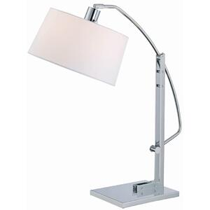 Adjustable Table Lamp, Chrome/white Fabric Shd, E27 Cfl 13w