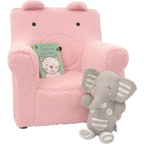 Hanover Outdoor Furniture - Critter Sitters 20-In. Plush Pink Bear Animal Shaped Mini Chair - Furniture for Nursery, Bedroom, Playroom, and Living Room Decor, CSBRCHR-PNK