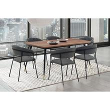 Messina and Nara Grey Faux Leather and Walnut 7 Piece Dining Set