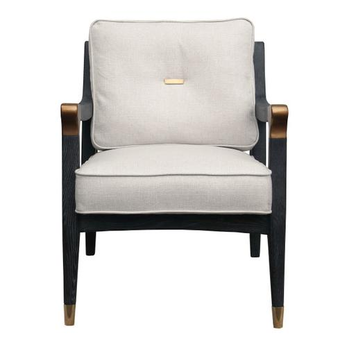 Upholstered Gold Detail Accent Chair in Black and White