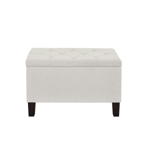 29 Inch Hinged Top Storage Bench w/ Diamond Tufted Seat in Light Gray