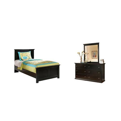 Product Image - Twin Panel Bed With Mirrored Dresser