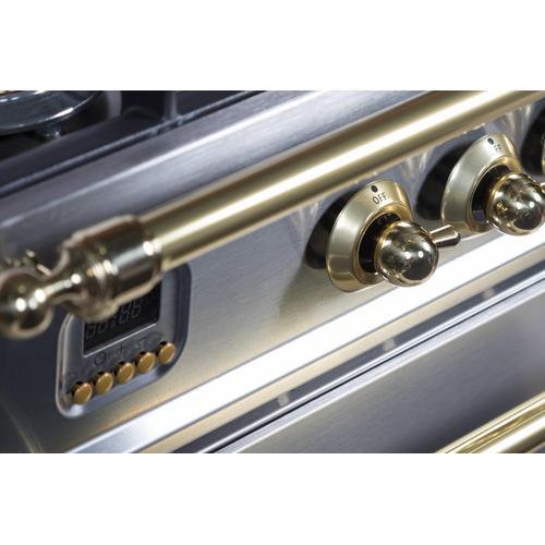 Nostalgie 30 Inch Dual Fuel Liquid Propane Freestanding Range in Stainless Steel with Brass Trim