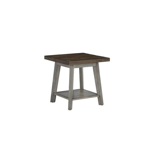 Gallery - Fairhaven 3-Pack Accent Tables, Distressed Reclaimed Oak Plank Top, Grey Base