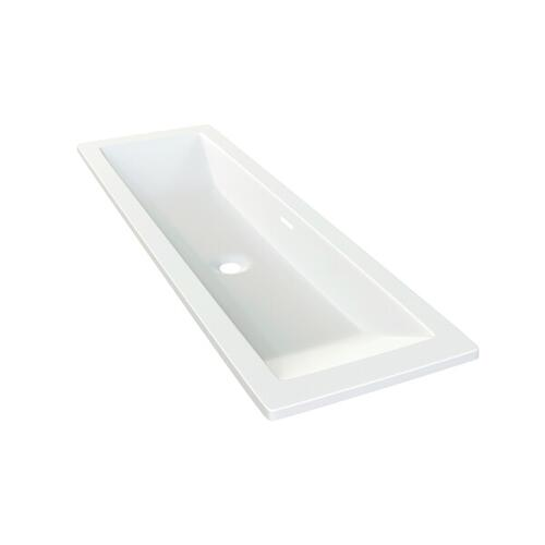 Rossendale 122 Rectangular 47-7/8 Inch Undermount or Drop-in Lavatory Sink in Volcanic Limestone™ with Internal Overflow - Gloss White