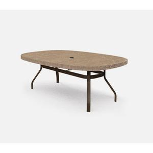 """47"""" x 84"""" Ellipse Balcony Table (with Hole) Ht: 34.25"""" 37XX Universal Aluminum Base (Model # Includes Both Top & Base)"""