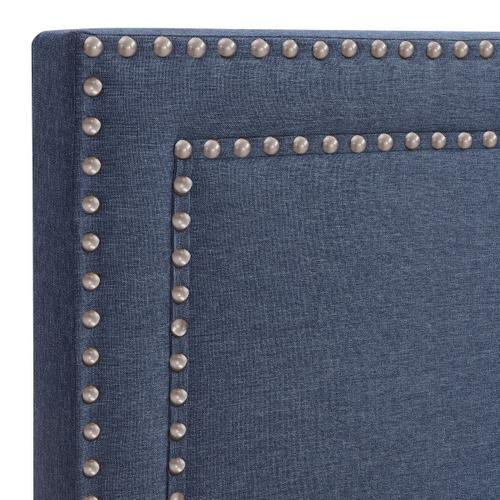 Upholstered King Bed with Nickel Nailhead Trim in Denim Blue
