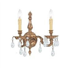 2 Light Clear Crystal Olde Brass Sconce