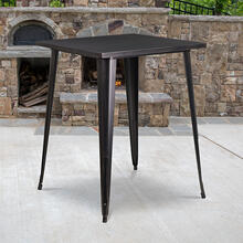 "Commercial Grade 31.5"" Square Black-Antique Gold Metal Indoor-Outdoor Bar Height Table"