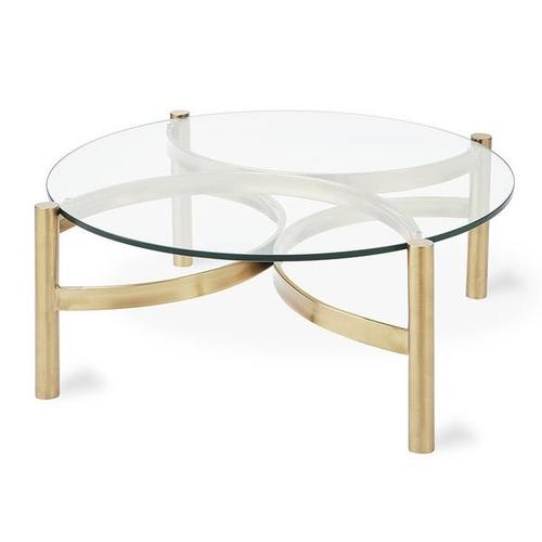 Compass Coffee Table Glass Champagne Gold