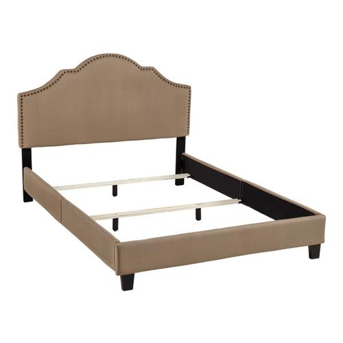 All-in-One Upholstered Bed Toffee Fabric Queen