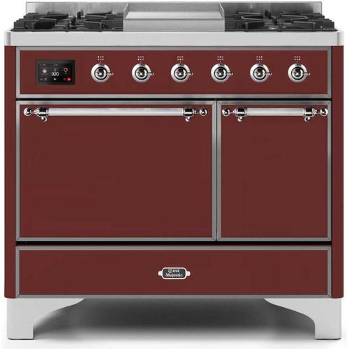 Majestic II 40 Inch Dual Fuel Natural Gas Freestanding Range in Burgundy with Chrome Trim