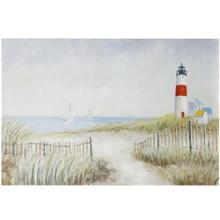 See Details - LIGHOUSE  HAND PAINTED  32in X 47in  Light House Serenity With Ocean Views Canvas