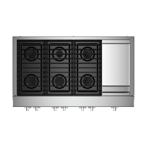 "48"" NOIR™ Gas Professional-Style Rangetop with Chrome-Infused Griddle"