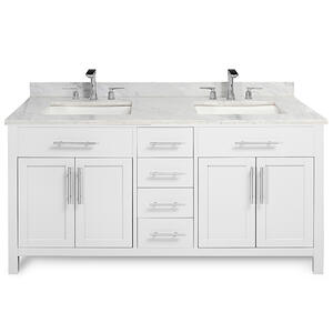 White MALIBU 60-in Double-Basin Vanity with Carrara Stone Top Product Image