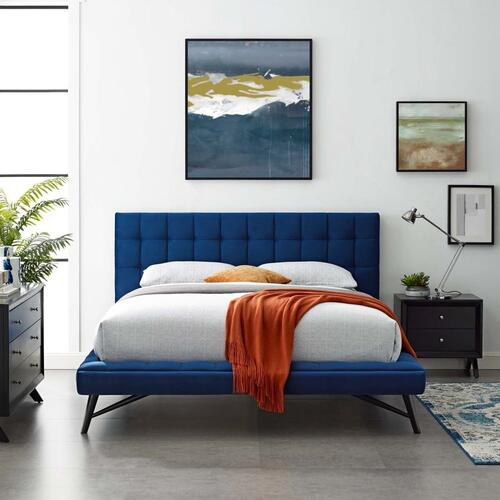 Julia Queen Biscuit Tufted Performance Velvet Platform Bed in Navy