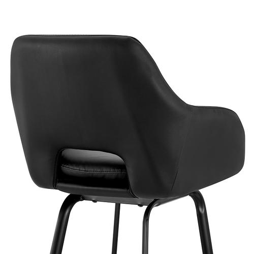 """Armen Living - Aura Black Faux Leather and Black Metal Swivel 26"""" Counter Stool"""