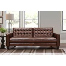 """See Details - Wesley 81"""" Chestnut Genuine Leather Extendable Power Footrest Tuxedo Arm Sofa"""