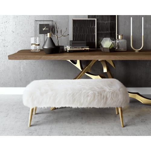 Tov Furniture - Churra White Sheepskin Bench with Gold Legs