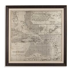 Vintage Map of Caribbean