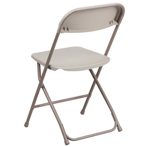 Flash Furniture - Hercules™ Series Plastic Folding Chair - Beige - 650LB Weight Capacity Comfortable Event Chair - Lightweight Folding Chair -