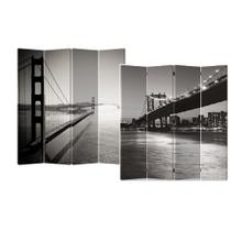 See Details - 4-Panel Double Sided Painted Canvas Room Divider Screen, Black and White Bridge