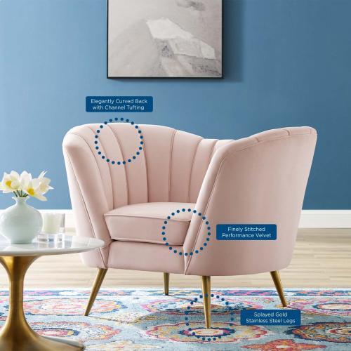 Opportunity Performance Velvet Armchair in Pink