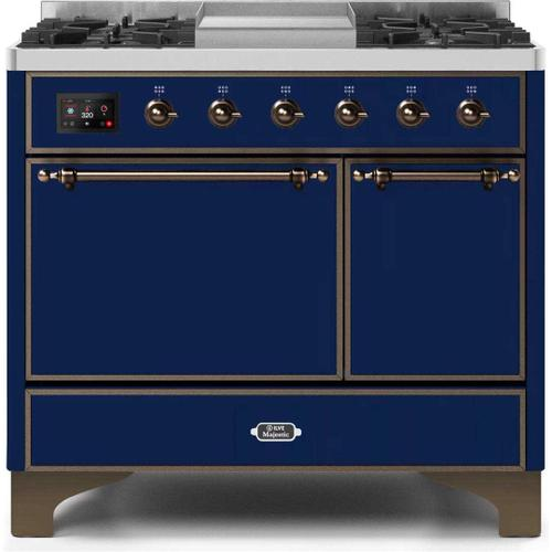 Ilve - Majestic II 40 Inch Dual Fuel Natural Gas Freestanding Range in Blue with Bronze Trim