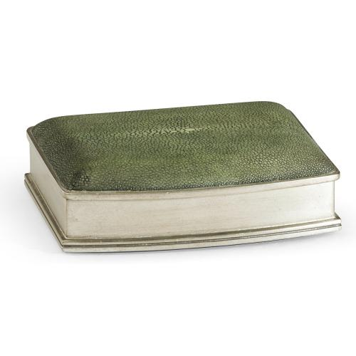 Green faux shagreen silvered box