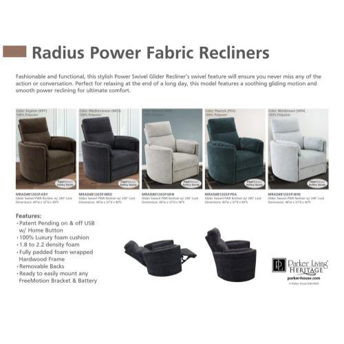 RADIUS - PEACOCK Power Swivel Glider Recliner