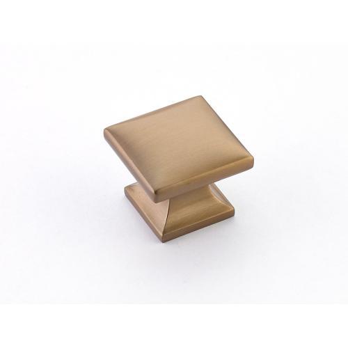 "Northport, Square knob, Brushed Bronze, 1-3/8"" dia"