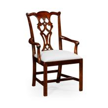 Chippendale Style Classic Mahogany Chair (Arm)