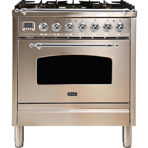 Nostalgie 30 Inch Dual Fuel Liquid Propane Freestanding Range in Stainless Steel with Chrome Trim