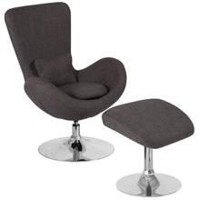 See Details - Egg Series Dark Gray Fabric Side Reception Chair with Ottoman