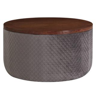 Essen Quilted Velvet Fabric Round Storage Coffee Table, Walnut/ Serene Dark Gray