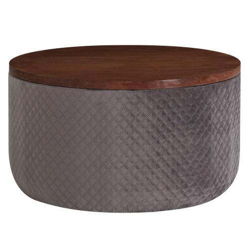 Essen Quilted Velvet Fabric Round Storage Coffee Table, Walnut/ Serene Dark Gray