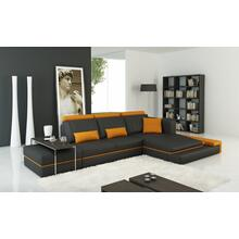 Divani Casa 5029B Modern Dark Grey and Orange Bonded Leather Sectional Sofa