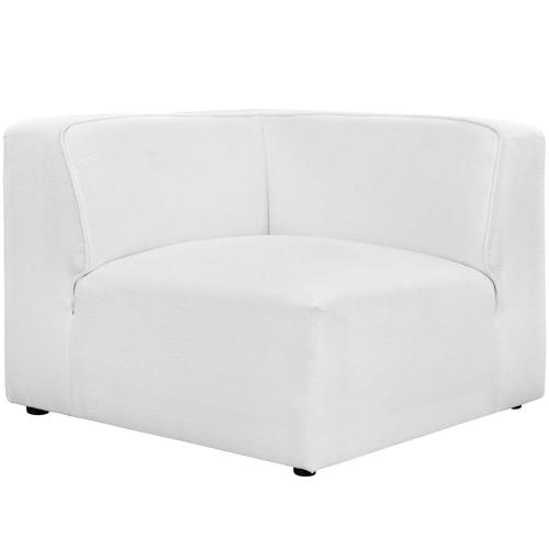 Mingle 5 Piece Upholstered Fabric Armless Sectional Sofa Set in White
