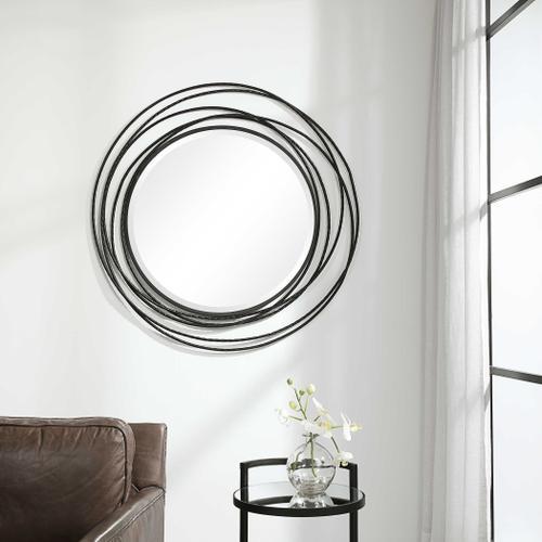 Uttermost - Whirlwind Black Round Mirror