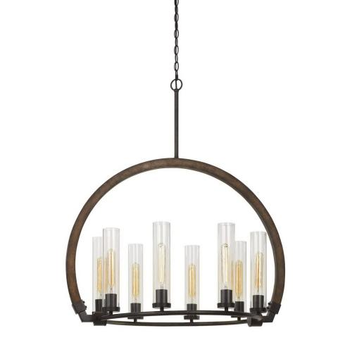 Cal Lighting & Accessories - 60W X 8 Sulmona Wood/Metal Chandelier With Glass Shade (Edison Bulbs Not included)