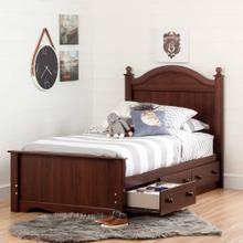 Complete Storage Bed with Headboard and 3 Drawers - 39''