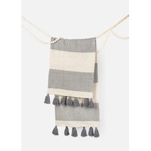 Grey & Natural Striped Woven Throw with Tassels