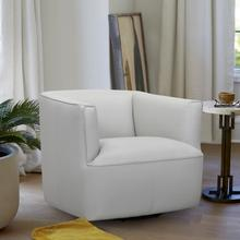 See Details - Whitney Swivel Dove Grey Genuine Leather Barrel Chair