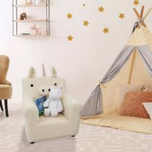See Details - Critter Sitters 20-In. Plush White Unicorn Animal Shaped Mini Chair - Furniture for Nursery, Bedroom, Playroom, and Living Room Decor, CSUNICHR-WHT