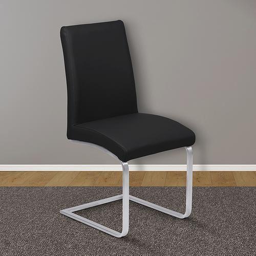 Armen Living - Armen Living Blanca Contemporary Dining Chair in Black Faux Leather with Brushed Stainless Steel Finish - Set of 2