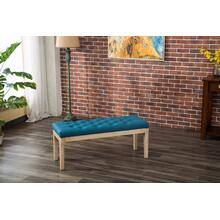 Mod Urban Style Solid Wood Fabric Padded Dining Bench, Blue