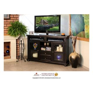"""See Details - 64"""" Dark Ent. TV Console w/2 Glass doors, 2 drawers"""