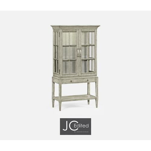 Rustic Grey Glazed Display Cabinet with Strap Handles